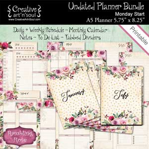 Rambling Rose Undated Printable Planner Bundle Size A5 Mon Start