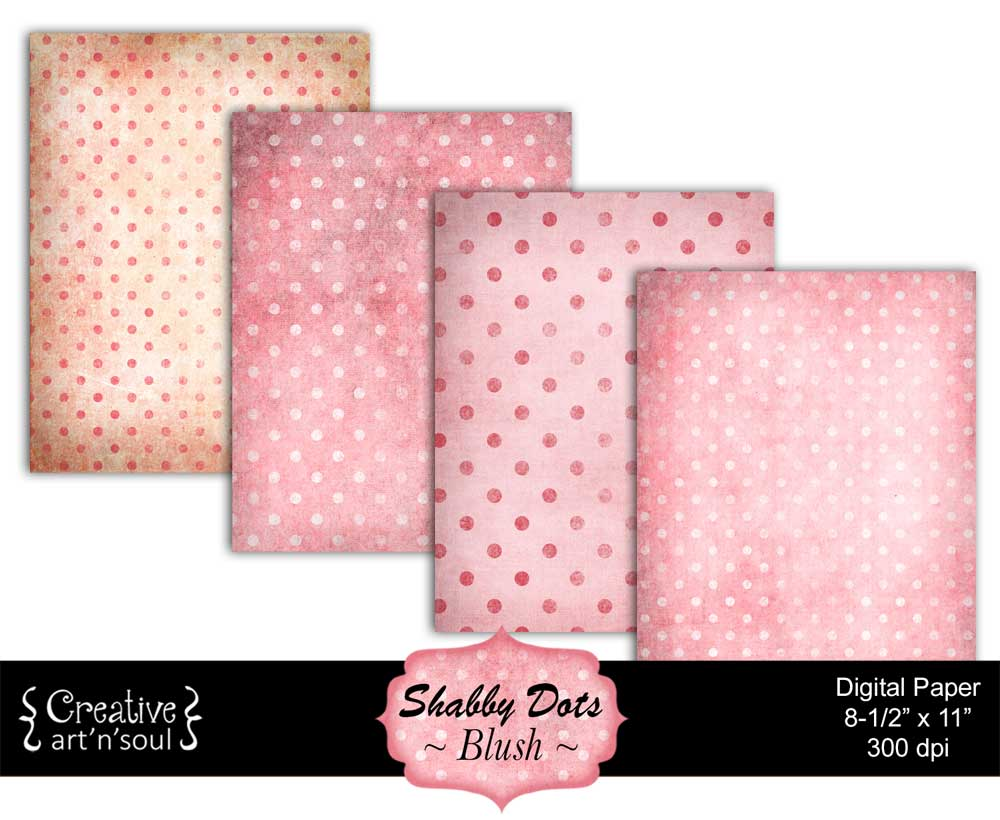 Shabby Dots Printable Paper Pack 8.5x11