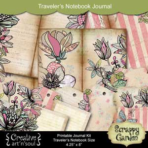 Scrappy Garden Traveler's Notebook Printable Journal