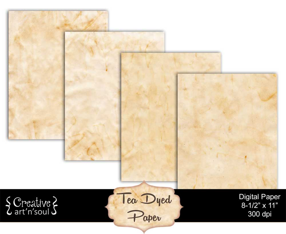 Tea Dyed Printable Paper Pack