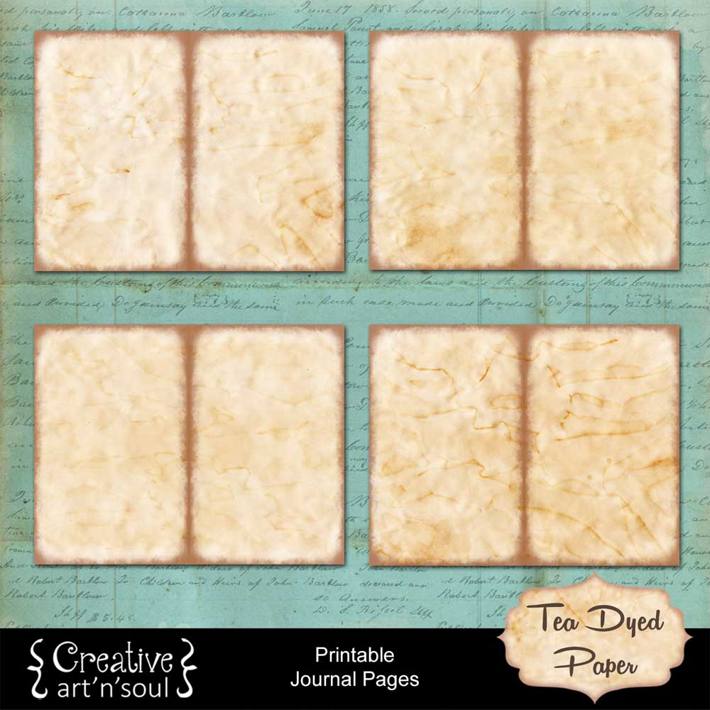 Tea Dyed Paper Printable Journal Pages