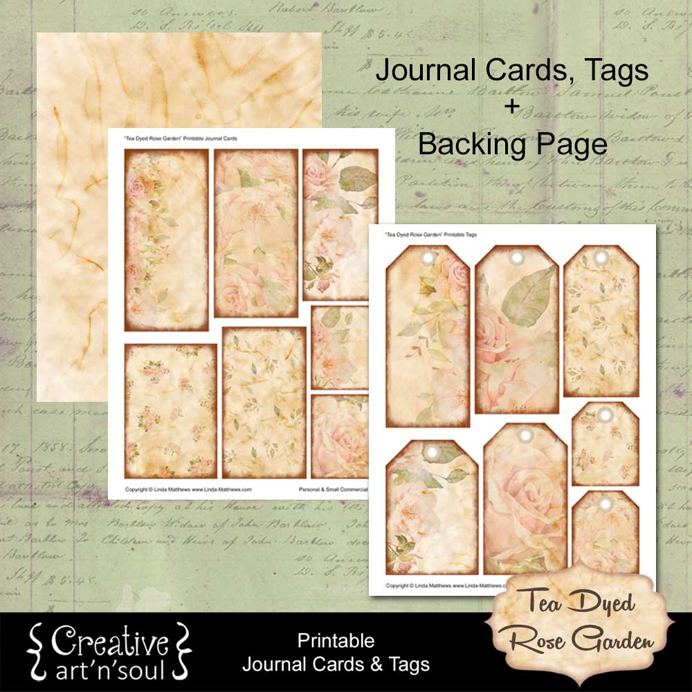Tea Dyed Rose Garden Printable Journal Cards and Tags