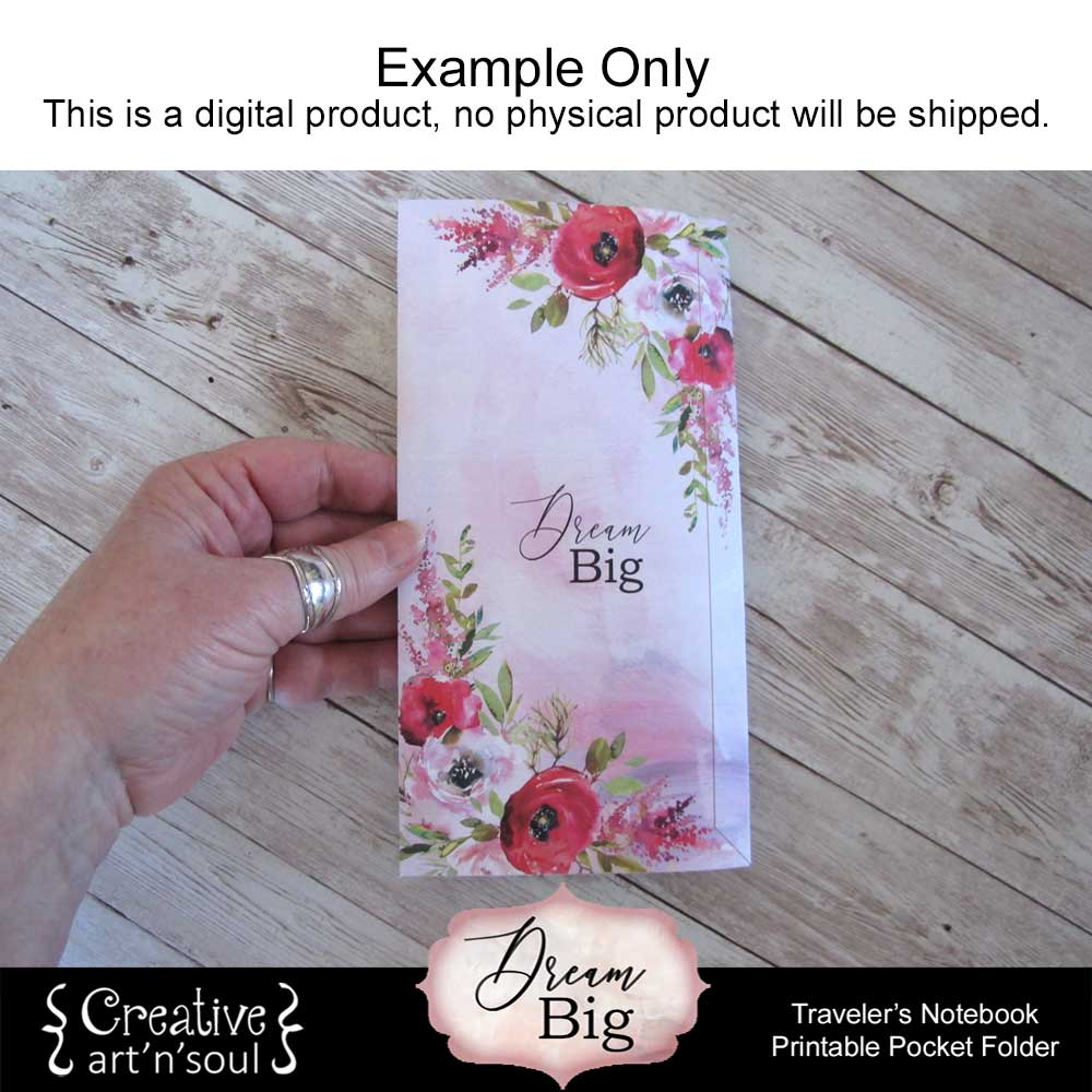 Dream Big Printable Traveler's Notebook Pocket Folder