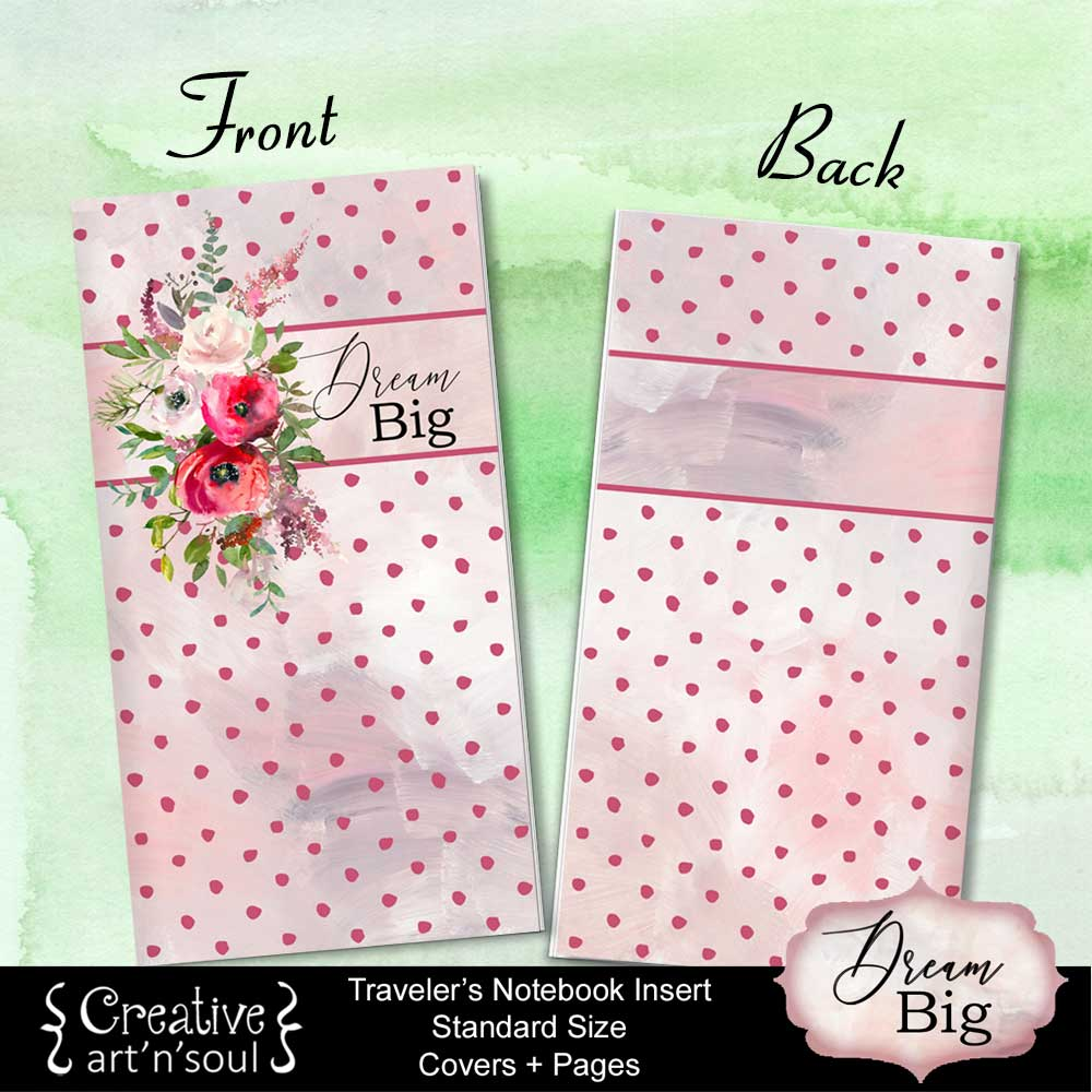 Travelers Notebook Printable Inserts, Standard Size, Dream Big - Covers and Pages