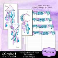 Travelers Notebook Printable Inserts, Standard Size, Dream