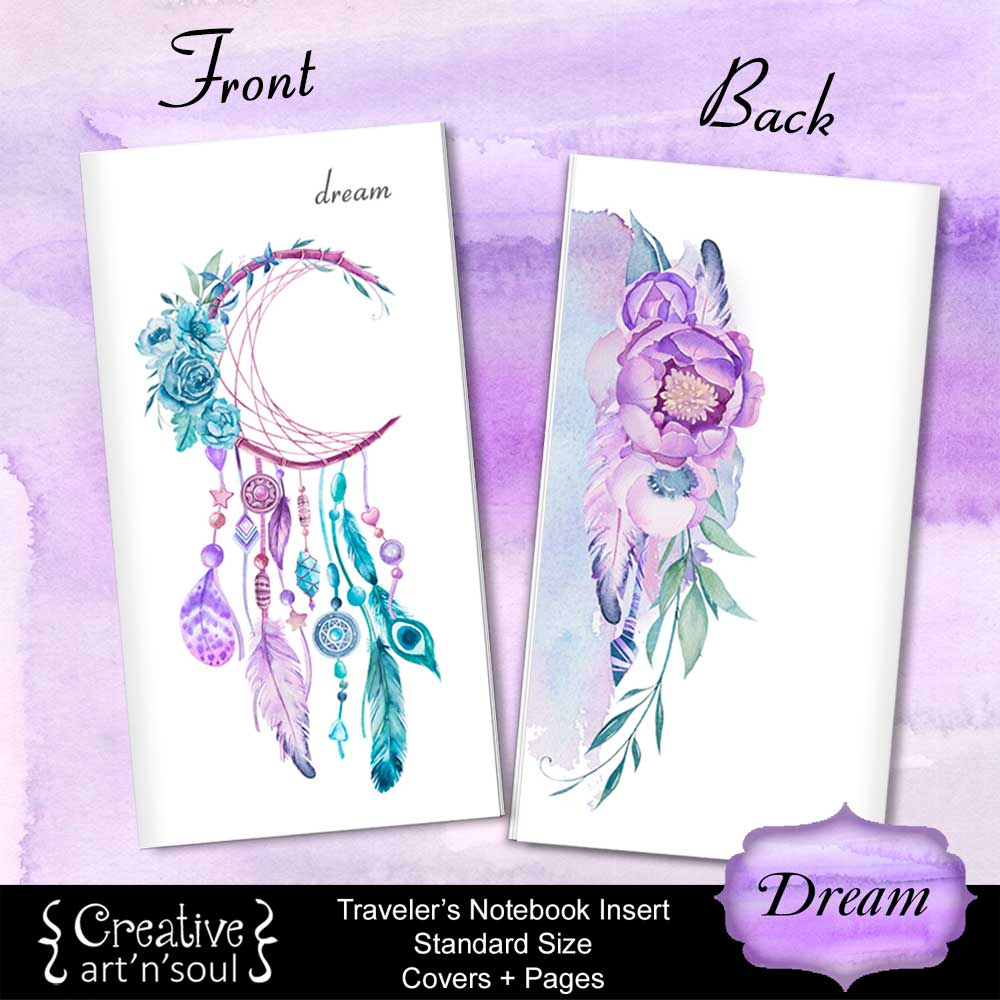 Travelers Notebook Printable Inserts, Standard Size, Dream - Covers and Pages