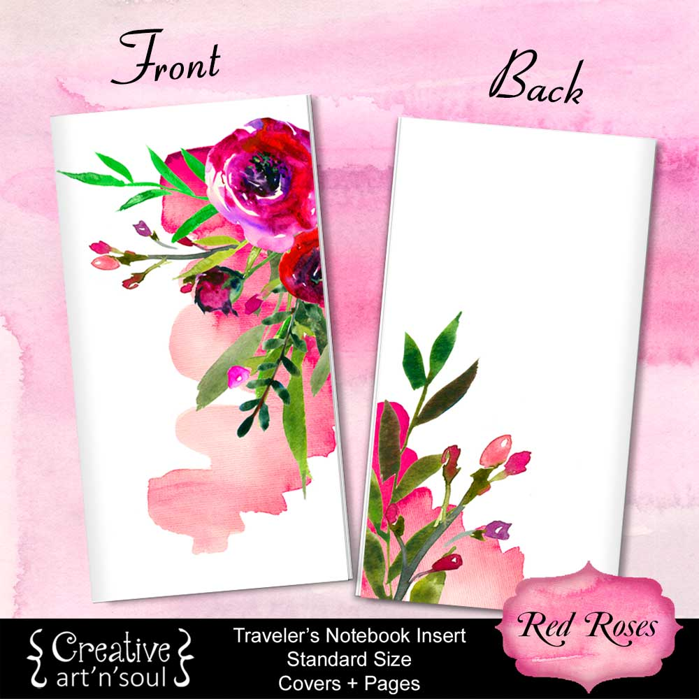 Travelers Notebook Printable Inserts, Standard Size, Red Roses - Covers and Pages