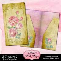 Printable Traveler's Notebook Pocket Folder: Vintage Pink Roses