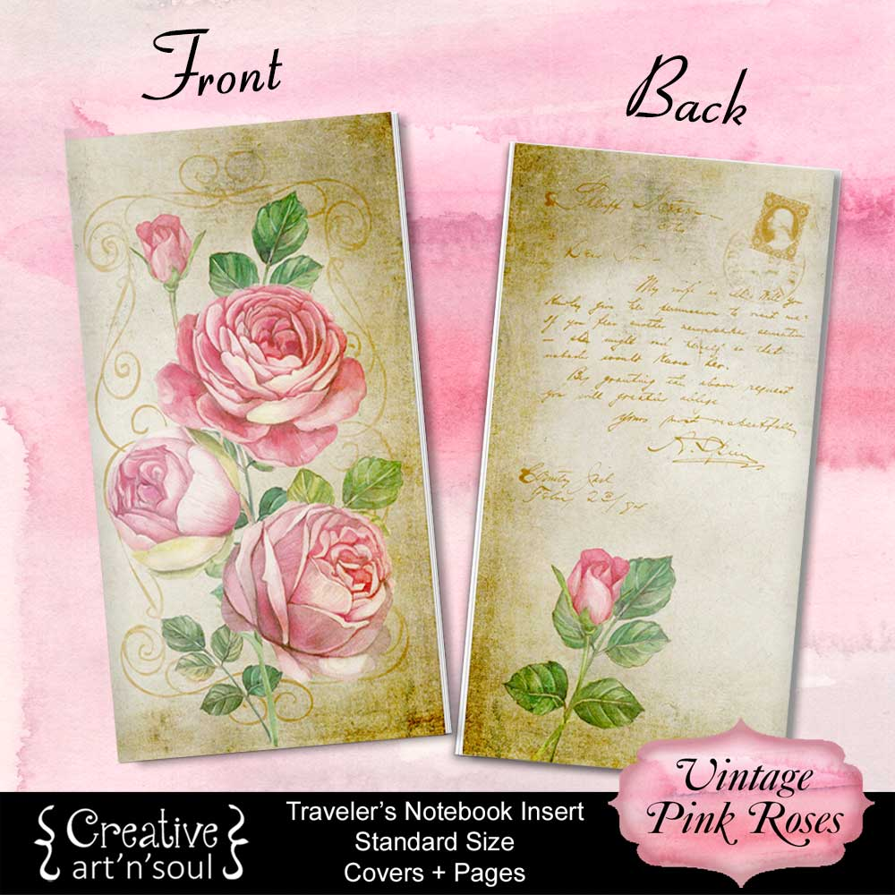 Travelers Notebook Printable Inserts, Standard Size, Vintage Pink Roses - Covers and Pages