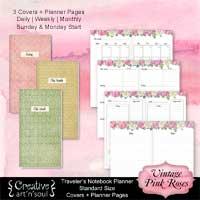 Travelers Notebook Printable Planner Inserts, Standard Size, Vintage Pink Roses