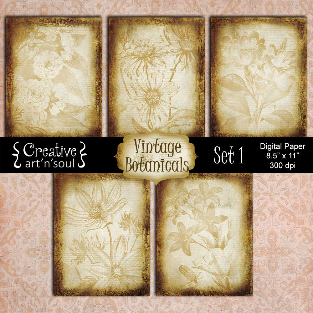 Vintage Botanicals Set 1 Digital Paper Pack 8.5x11