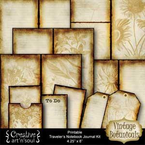 Vintage Botanicals Traveler's Notebook Printable Journal