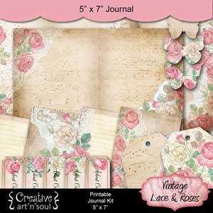 Vintage Lace & Roses Printable Journal 5