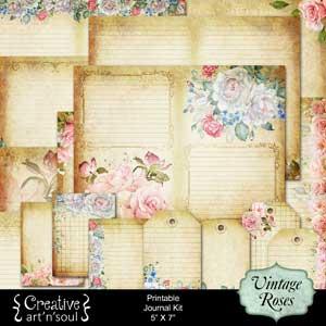 Vintage Roses Printable Journal 5
