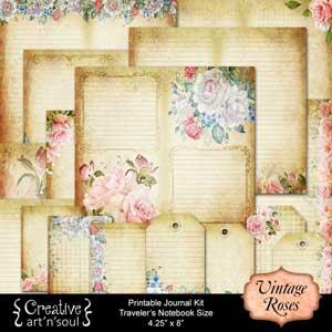 Vintage Roses Printable Journal Traveler's Notebook Size