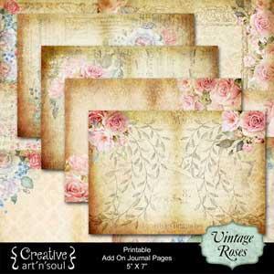 Vintage Roses Printable Journal 5x7 AddOn Pages