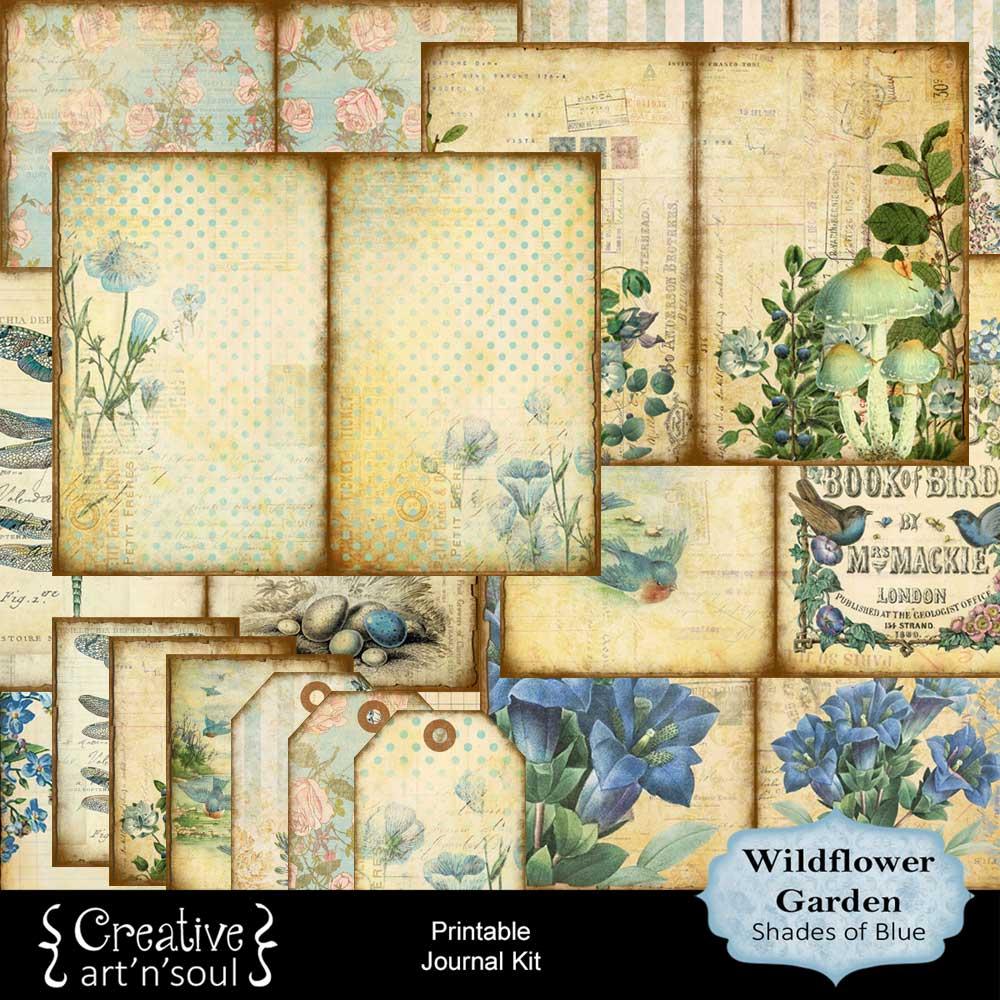 Wildflower Garden Shades of Blue Printable Journal