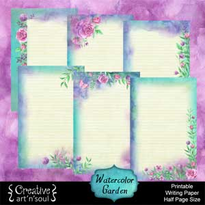 Watercolor Garden Printable Writing Paper: Half Page Size