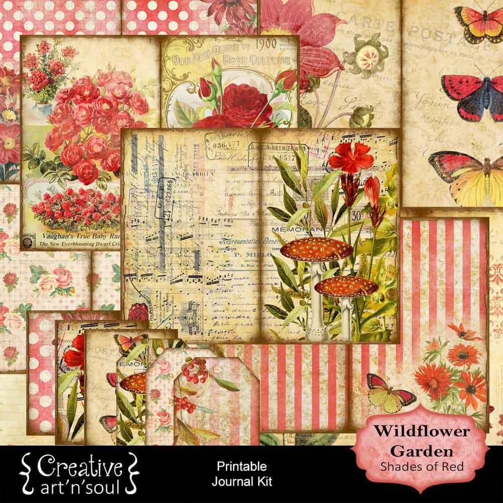 Wildflower Garden Shades of Red Printable Journal