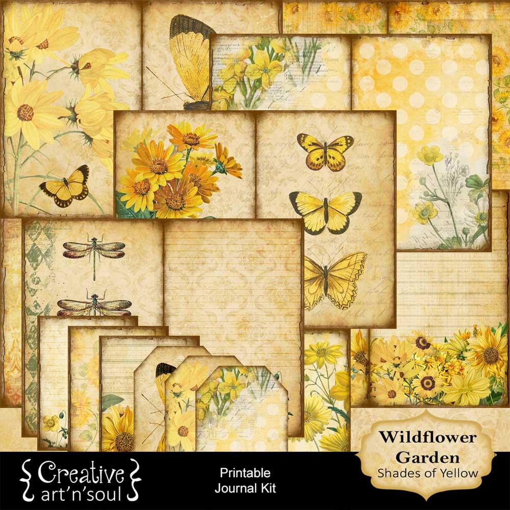 Wildflower Garden Shades of Yellow Printable Journal