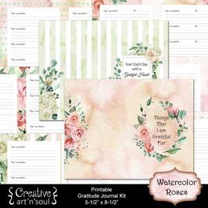Watercolor Roses Printable Gratitude Journal