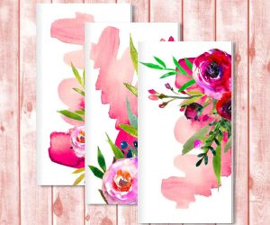 Designer Traveler's Notebook Inserts Set of 3: Red Watercolor Roses