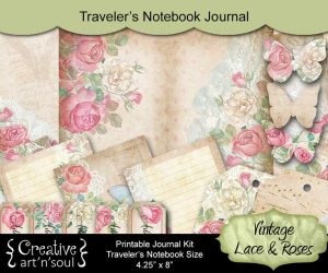 Vintage Lace & Roses Traveler's Notebook Printable Journal