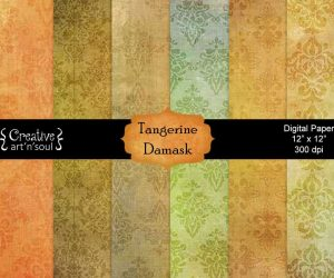 Tangerine Damask Digital Paper Pack 12″ x 12″