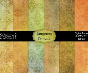 Tangerine Damask Digital Paper Pack 8.5″ x 11″