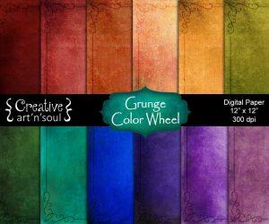 Grunge Color Wheel Digital Paper Pack 12″ x 12″