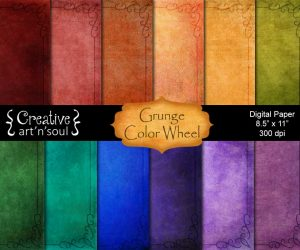 Grunge Color Wheel Digital Paper Pack 8.5″ x 11″