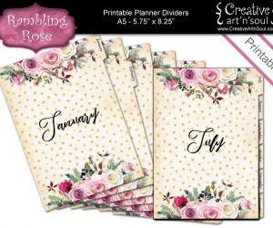 Printable Planner Dividers, Set of 12 Tabbed Monthly Dividers Size A5, Rambling Rose