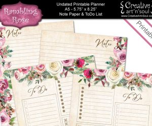 Printable Planner Note Paper & To Do List, Size A5, Rambling Rose