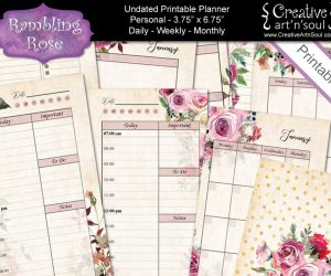 Undated Printable Planner Bundle, Personal Size, Rambling Rose