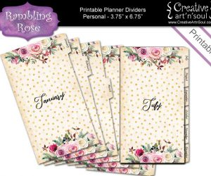 Printable Planner Dividers, Set of 12 Tabbed Monthly Dividers Personal Size, Rambling Rose
