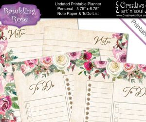 Printable Planner Note Paper & To Do List, Personal Size, Rambling Rose