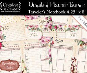 Undated Printable Planner Bundle, Standard Traveler's Notebook Size, Rambling Rose