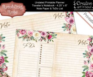 Printable Planner Note Paper & To Do List, Standard Traveler's Notebook Size , Rambling Rose