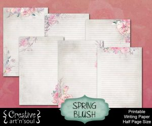 Spring Blush Printable Writing Paper: Half Page Size