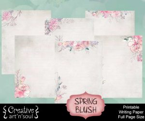 Spring Blush Printable Writing Paper: Full Page Size