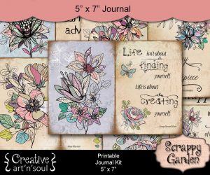 Scrappy Garden Printable Quote Pages 5″ x 7″