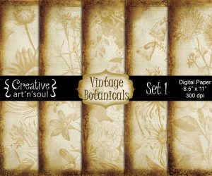 Vintage Botanicals Set 1 Digital Paper Pack 8.5″ x 11″