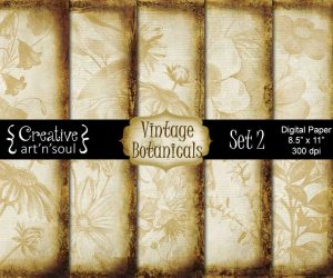 Vintage Botanicals Set 2 Digital Paper Pack 8.5″ x 11″