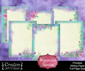 Watercolor Garden Printable Writing Paper: Full Page Size
