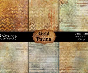 Gold Patina Digital Paper Pack 8.5″ x 11″
