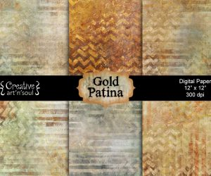 Gold Patina Digital Paper Pack 12″ x 12″