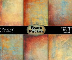 Rust Patina Digital Paper Pack 12″ x 12″