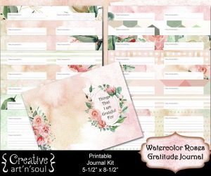 Watercolor Roses Printable Gratitude Journal 5″ x 8″