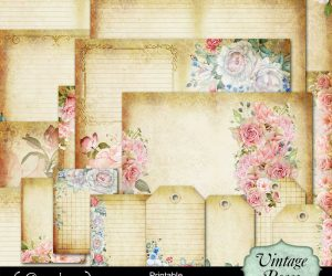 Vintage Roses Printable Journal 5″x7″
