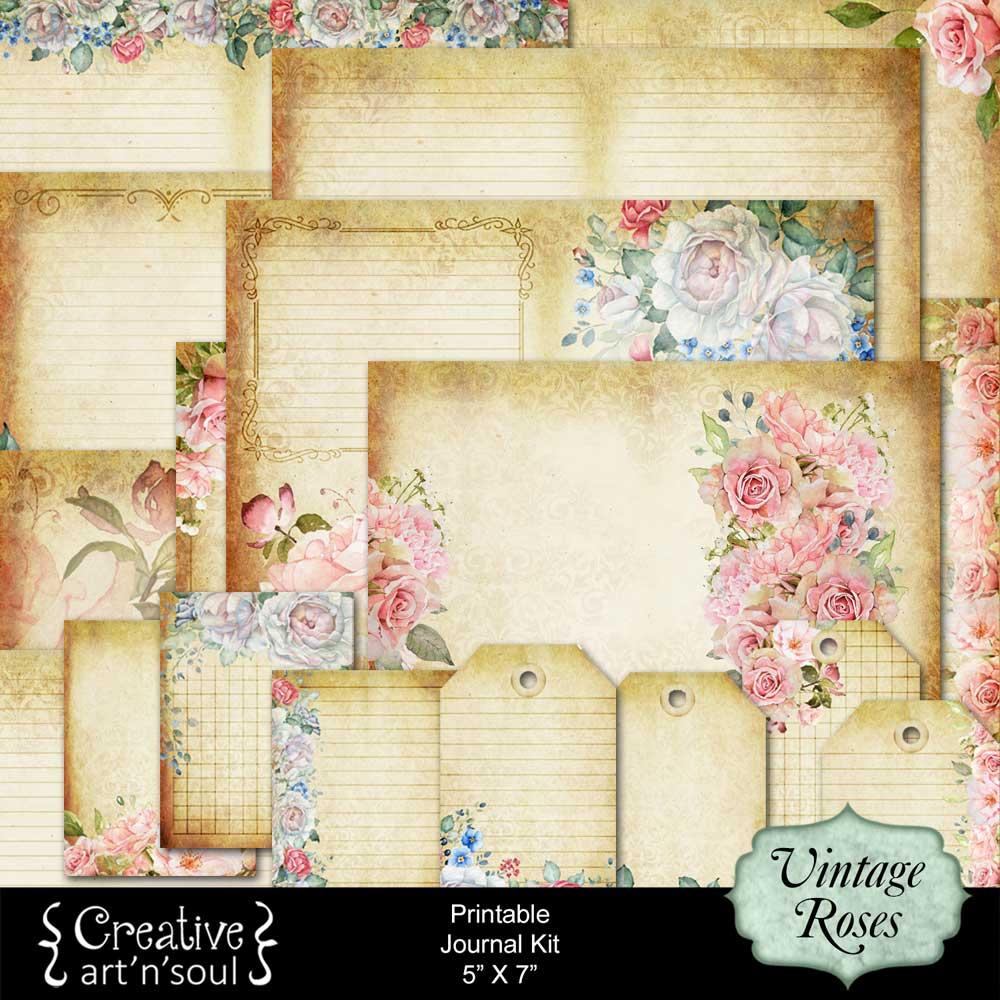 Vintage Roses Printable Journal